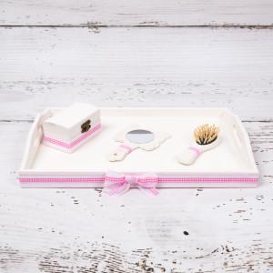 Set tavita mot/turta model patratele roz fete