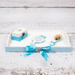 Set tavita mot/turta decor bleu cu figurina baiat