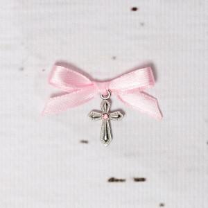 Cruciulite botez cu pietricica roz si fundita roz