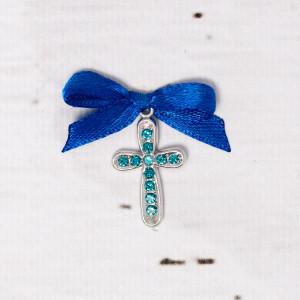 Cruciulite botez cu strassuri bleu si fundita albastra