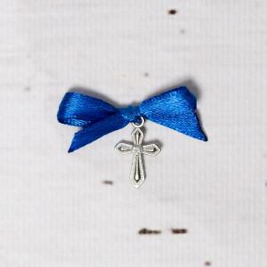 Cruciulite botez cu pietricica transparenta si fundita albastra