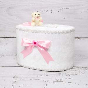 Cutie de dar fetite cu ursulet si funda roz cu figurina carucior