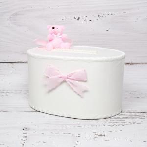 Cutie de dar fetite cu ursulet roz si funde roz cu buline albe