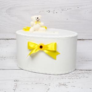 Cutie de dar cu ursulet, funde galbene si floarea-soarelui