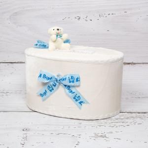 Cutie de dar cu ursulet, funde It s a boy si suzeta bleu