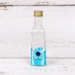Sticluta mir cu decor bleu si figurina carucior