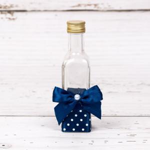 Sticluta de mir cu decor bleumarin cu buline albe