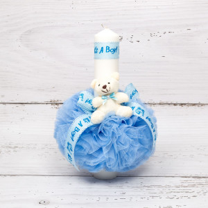 Lumanare botez tulle bleu, ursulet plus si banda It s a boy