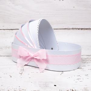 Cutie trusou botez biserica tip landou cu banda roz si buline albe
