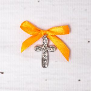 Cruciulite botez cu strassuri transparente si fundita portocalie