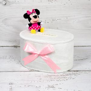 Cutie dar botez Minnie Mouse cu fundita roz si buline albe