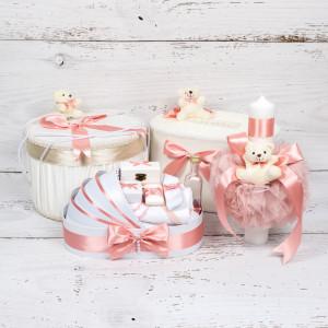 Set cutie de dar, cutie hainute, trusou si lumanare botez roz pudra cu ursuleti