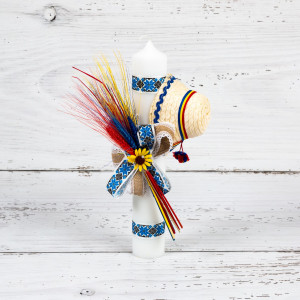 Lumanare botez decor traditional albastru cu spice, clop si floarea-soarelui