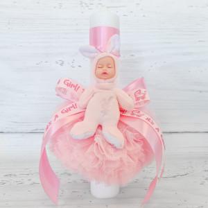 Lumanare botez decor tulle roz si bebelus