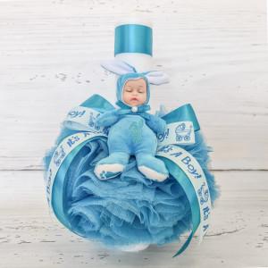 Lumanare botez decor tulle tucoaz si bebelus