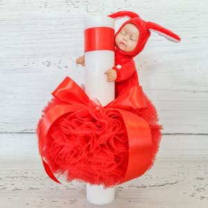 Lumanare botez decor tulle rosu si bebelus