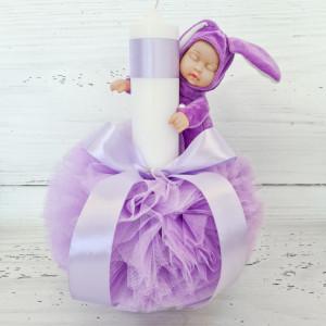 Lumanare botez decor tulle lila si bebelus