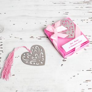 Marturii de nunta semn de carte inima roz
