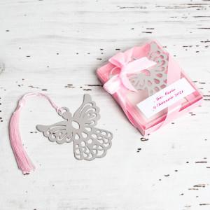 Marturii de nunta semn de carte ingeras roz