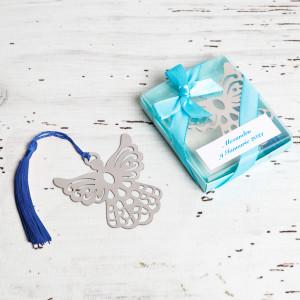 Marturii de nunta semn de carte ingeras bleu