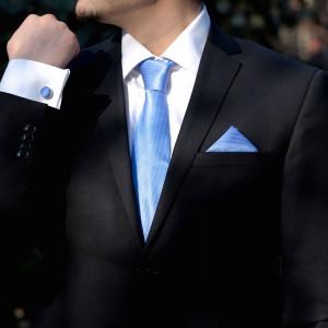 Set bleu cravata, batista si butoni camasa