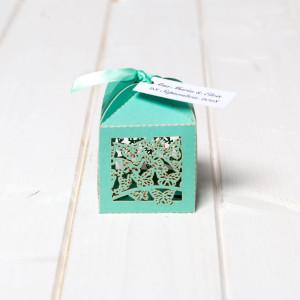 Marturii de nunta cutiute fluture verde