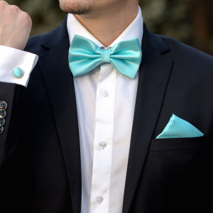 Set aquamarine papion, batista si butoni camasa