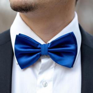 Set albastru royal papion, batista si butoni camasa