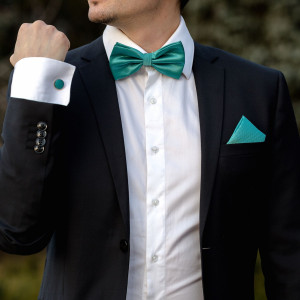 Set verde smarald papion, batista si butoni camasa