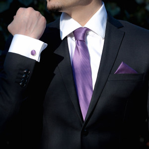 Set mov cravata, batista si butoni camasa
