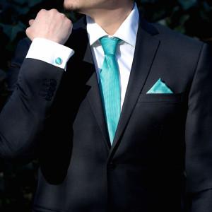 Set turcoaz cravata, batista si butoni camasa