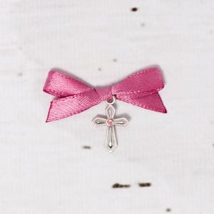 Cruciulite botez cu pietricica roz si fundita roz prafuit